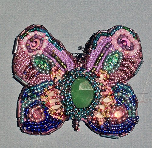 Additional Pendant - Hand-Beaded Butterfly Brooch/Pendan with Emerald Green, Turquoise, Blue, Purple and Opals, Approx. 800 Beads. Pendant Converter Included No Additional Charge.