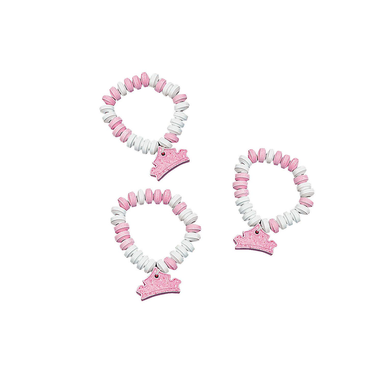 Princess Candy Bracelets with Charm (12 Pieces) Pink and White - Stretchable