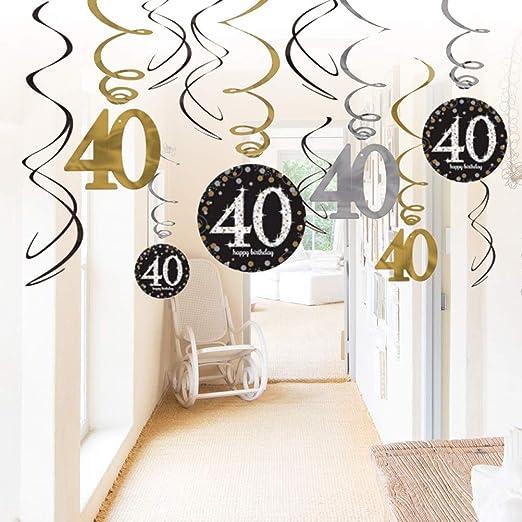 Amosfun Doce Decoraciones de 40 cumpleaños,40 cumpleaños ...