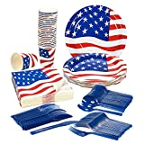 American Flag Party Supplies – Serves 24 – Includes Plates, Knives, Spoons, Forks, Cups and Napkins. Perfect American Party Pack for USA America Themed Parties.