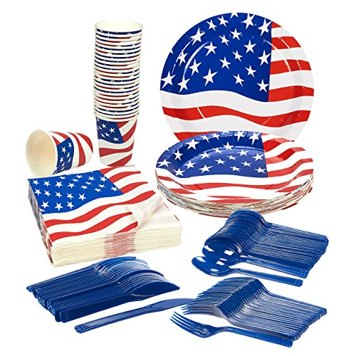 Disposable Dinnerware Set - Serves 24 - Patriotic Party Supplies - American Flag Party Supplies - Paper Party Supplies - Includes Plastic Knives, Spoons, Forks, Paper Plates, Napkins, (Memorial Set)