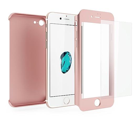 154 opinioni per Cover iPhone 7 360 Gradi + Pellicola Vetro Temperato, Mobilyos® [ 360 ° ] [ Oro