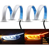 YEERON Flexible LED Light Strip 2Pcs 24 Inches Dual Color LED Headlight Surface Strip Light White Daytime Running Light…