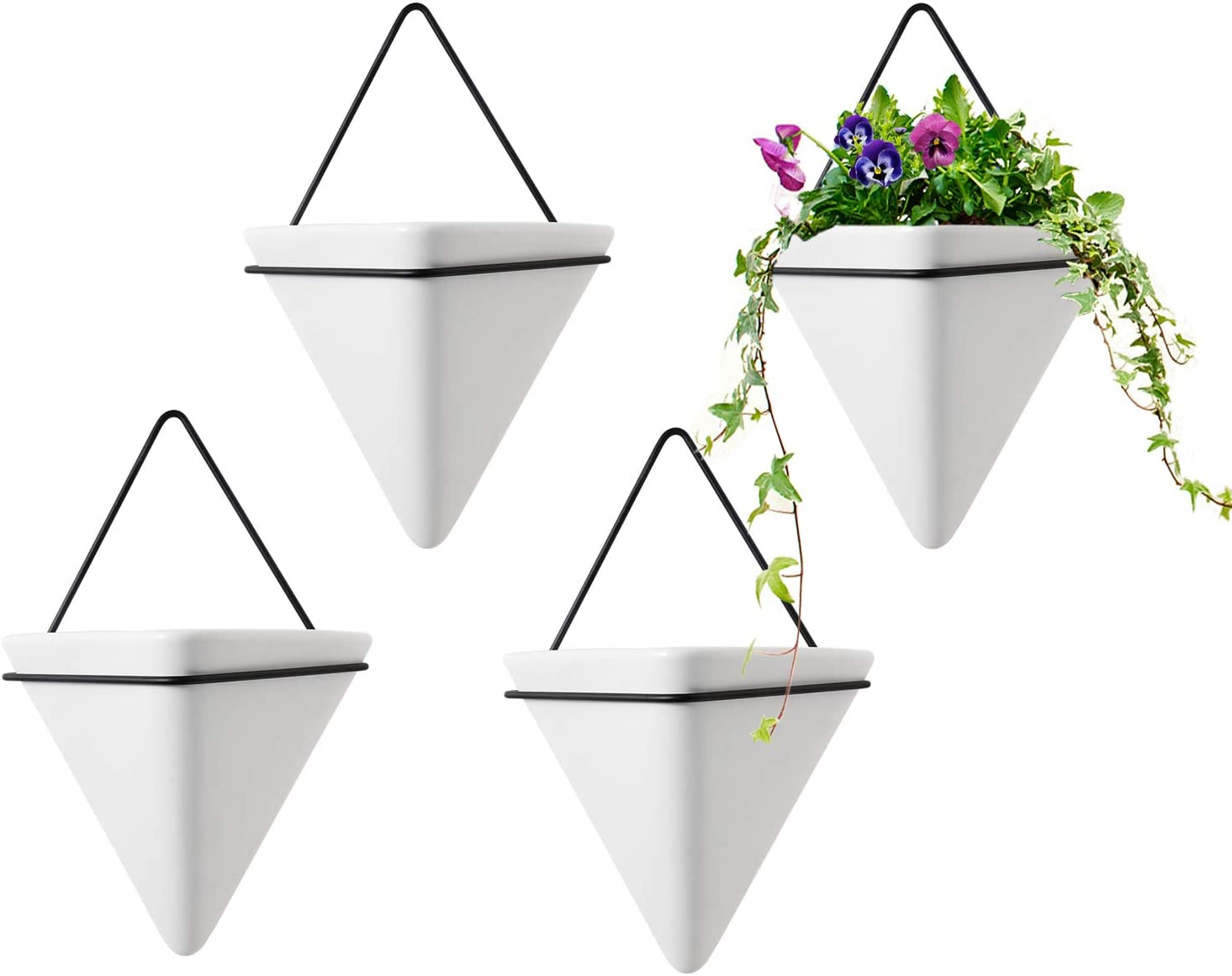 T4U Triangle Wall Planter, Set of 4 Hanging Planter Vase & Geometric Planter Wall Decor Air Plant Container for Home and Office Decoration Birthday Wedding Gift (Small, White)