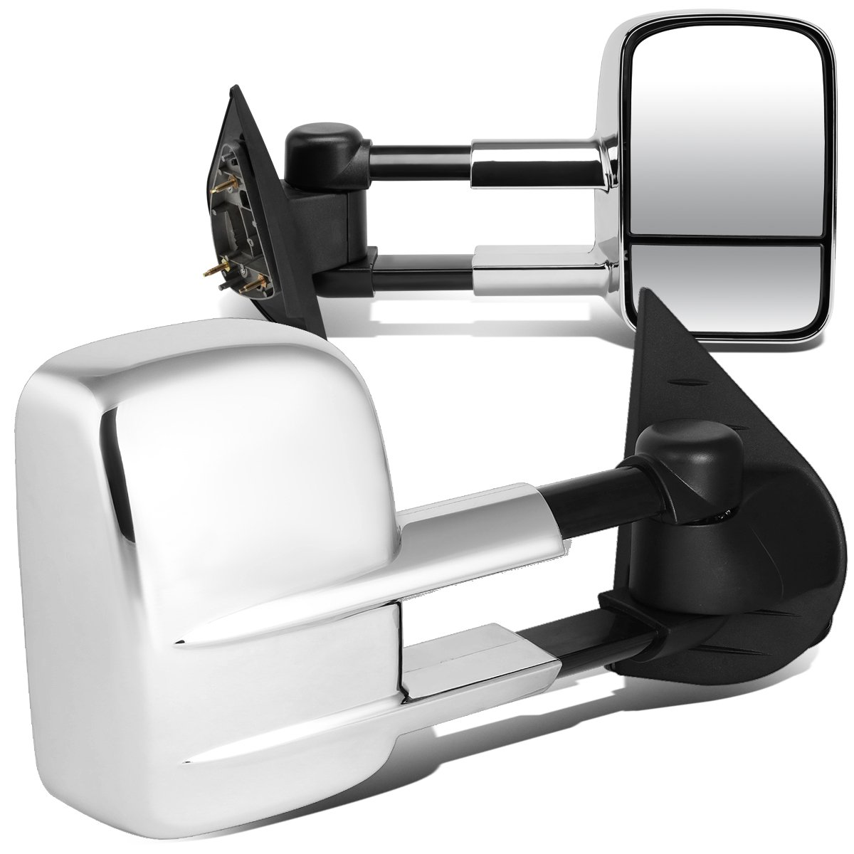For Silverado/Sierra GMT900 Pair of Telescopic Extended Arm Rear View Manual Folding Towing Side Mirror (Chrome) by Auto Dynasty