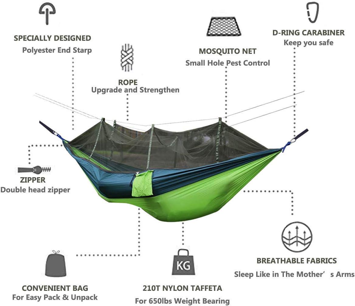 Hamac Portable Force Parachute Lit Suspendu avec Moustiquaire Pour Voyage en plein air Camping Hamac Chaise Gris/orange.