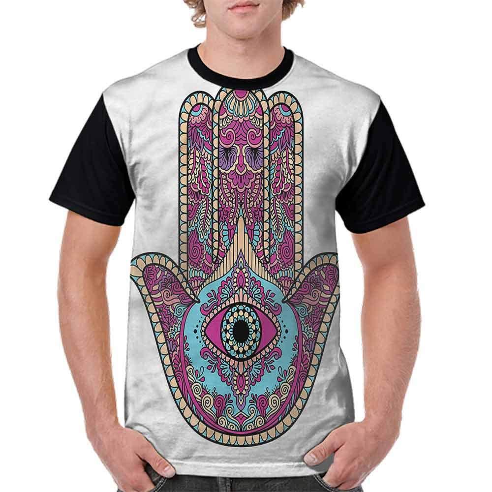 BlountDecor Printed T-Shirt,Doodle Swirls Evil Eye Fashion Personality Customization
