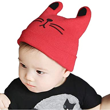 c6c47febb6a Ziory 1Pcs Red Knitted Cat Ear Baby Hat Children Baby Caps Girls Boys Hats  Newborn Photography