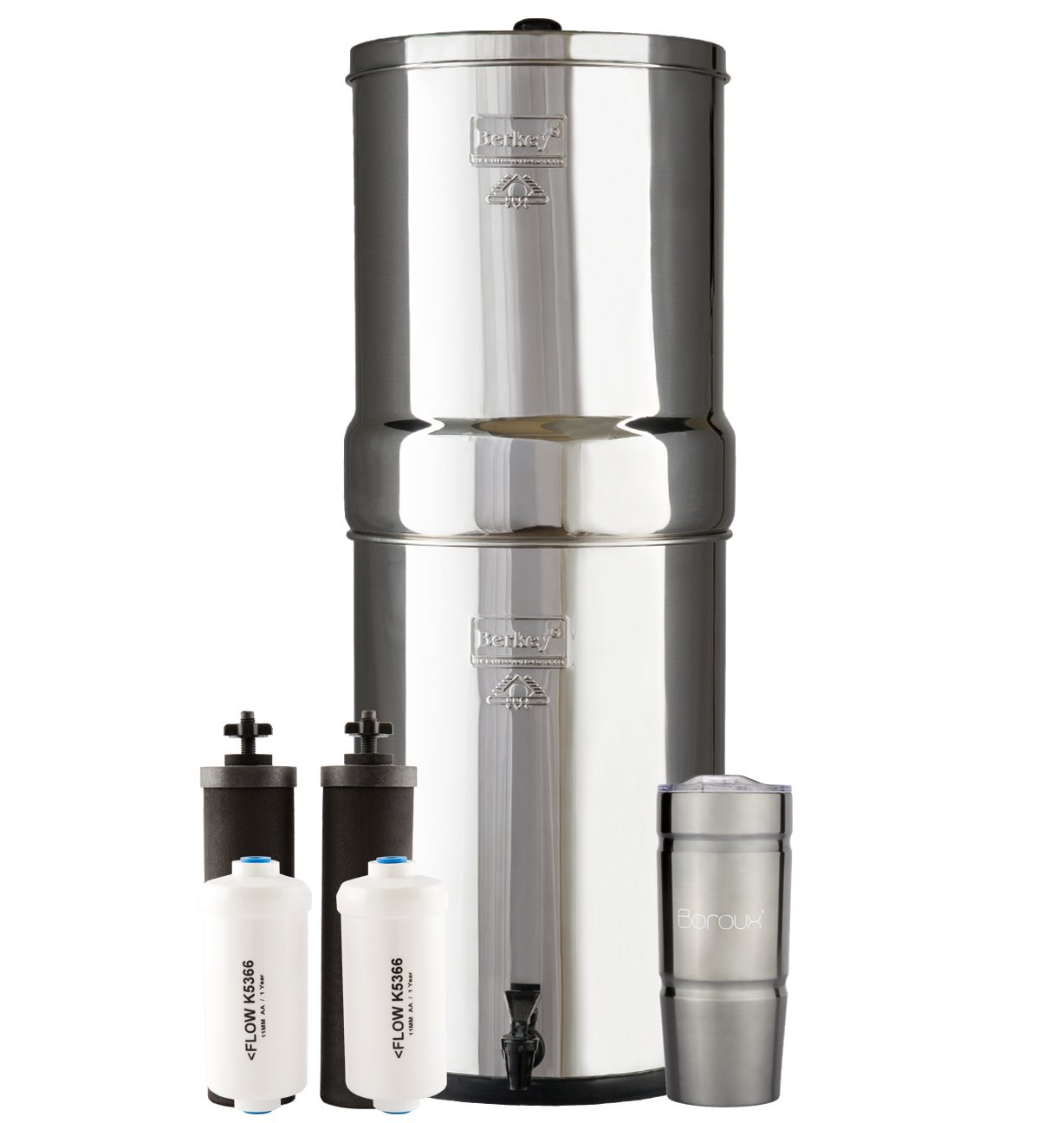CROWN Berkey Water Filter System with 2 Black Purifier Filters (6 Gallons) Bundled with 1 set of Fluoride (PF2) Filters and 1 Boroux Double Walled 20 oz Stainless Steel Tumbler Cup