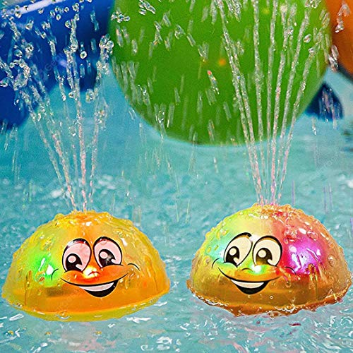 GRUSEMI 2 Pcs Bath Toy, Spray Water Squirt Toy LED Light Up Float Toys Bathtub Shower Pool Bathroom Toy for Baby Toddler Infant Kid Water Electric Sprayer