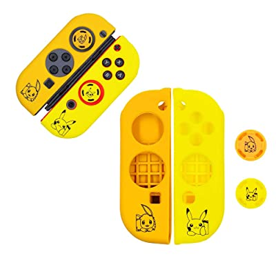 Hosoncovy Silicone Grip Case Handle Grip Cover Handheld Controller Housing Protector Skin with 2 Thumb Sticks Joystick Cap for Nintendo Switch Joy-Con Grips (Yellow and Brown): Toys & Games