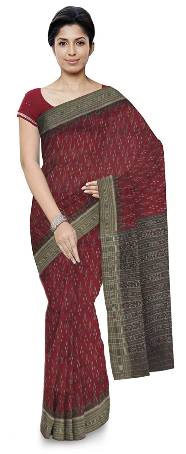 Maroon Color Women's Ikat Cotton Saree With Blouse Piece