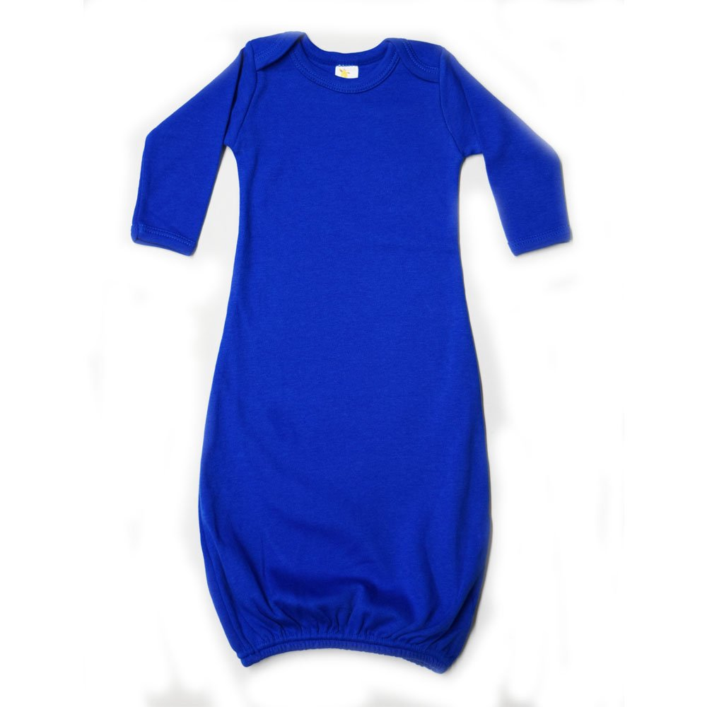 Laughing Giraffe Unisex Long Sleeve Cotton Baby Gown (3-6M, Royal) LGS2800