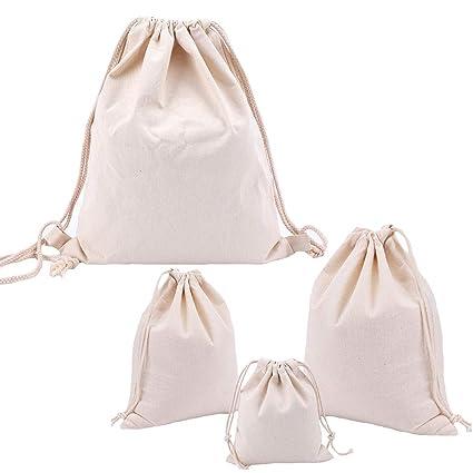 Abaría - 4 Unidades Bolsas Pintura - Mochila de Cuerda + 3 Bolsos del almacenaje Organizador para Maleta, Beige Tela