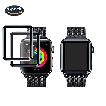 FOLOME [Pack de 2 Protectores de Pantalla para Apple Watch, Marco de Fibra de