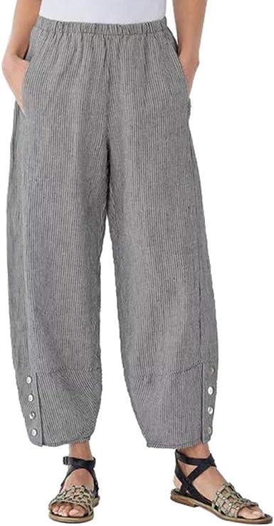 cinnamou Pantalones Mujer, Casual Pantalones Cintura Alta De Lino ...