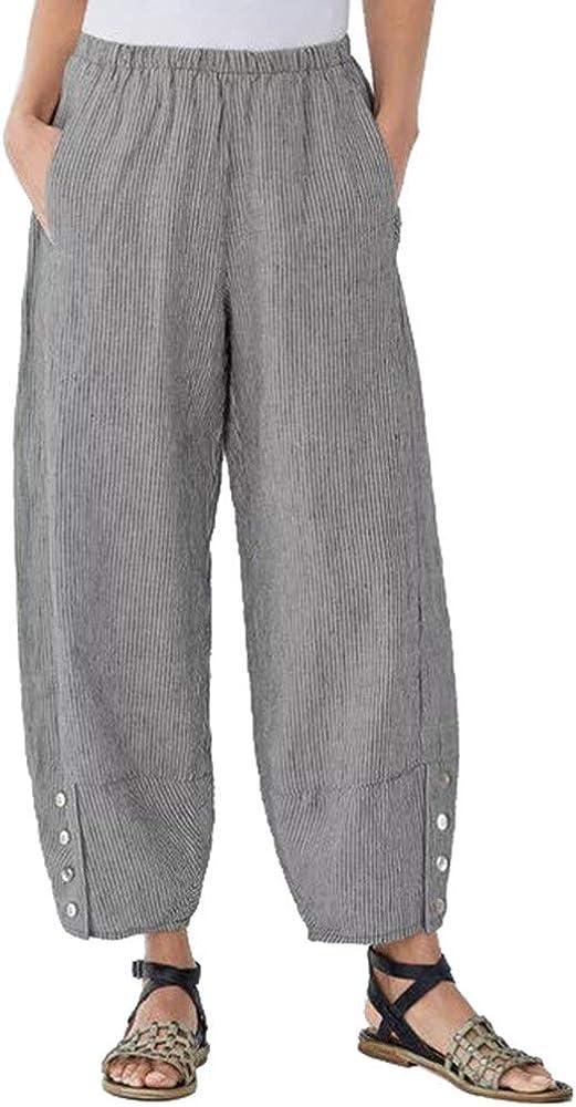 beautyjourney Pantalones de algodón y Lino para Mujer Pantalones ...