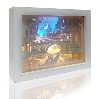 Tisch Mit Beleuchtung | Licht Und Schatten Papier Carving Schreibtischlampe Diy Nacht Schlaf