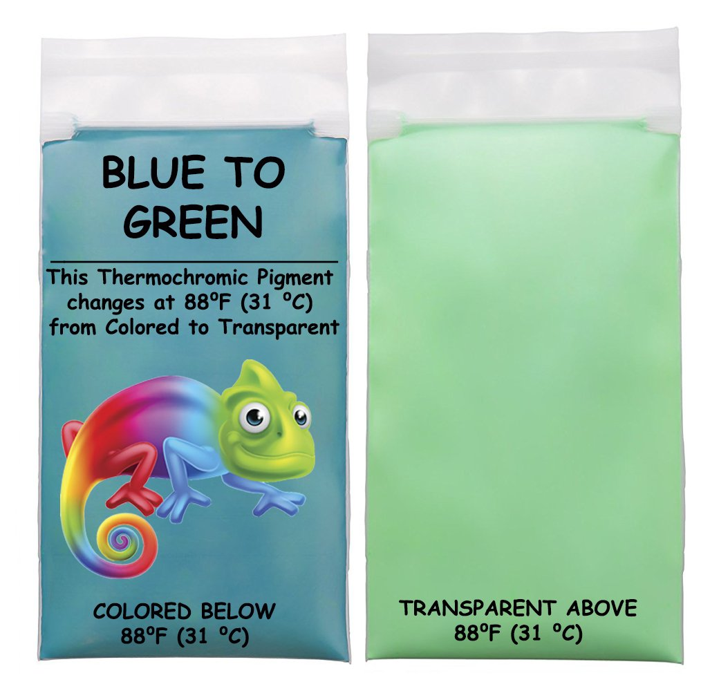 20g of Thermochromic Temperature Activated Pigment - Multiple Colors and Different Temperature Changes Available - (Red, Changes at 88⁰F (31 ⁰C)) Changes at 88⁰ F (31 ⁰ C)) The Magic Chameleon Crafts Company