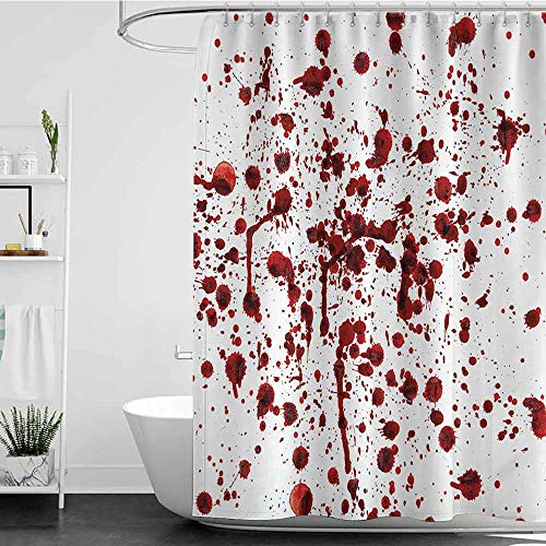 homecoco Shower Curtains White Design Bloody,Splashes of Blood Grunge Style Bloodstain Horror Scary Zombie Halloween Themed Print,Red White W72 x L72,Shower Curtain for Men]()