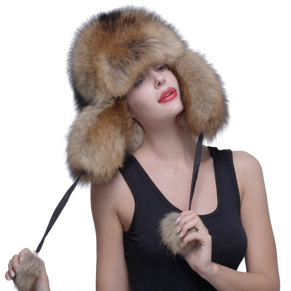 URSFUR Genuine Raccoon Fur Russian Ushanka Trapper Hat Cap with Fur Ball Pompom