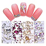 NICOLE DIARY Nail Rhinestone Colorful Flat Bottom Resin Gems Micro Crystal Beads Acrylic Alloy Champagne Gold Studs Nail Art 3D Decoration (4 Colors)