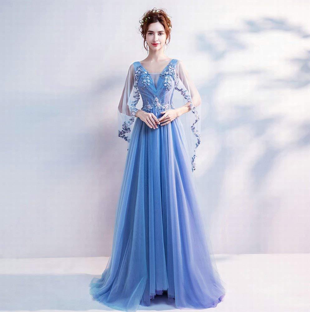 3ad2f8f6f43 Amazon.com   YT-RE Romantic Blue Wedding Dinner Annual Meeting Dress Deep V-Neck  Embroidery Flower Angel Dress   Sports   Outdoors