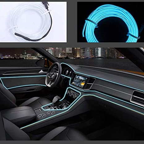 5M//16ft Flexible EL Wire Neon LED Light Rope Party Car Decorate Battery US SL
