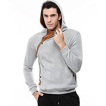 Hombres Sweatshirts con capucha, lmmvp Hombres Patchwork occasionnel mango larga – Sudadera con capucha mezcla