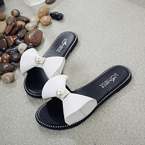 Lolittas Summer Beach Beaded Diamante Flat Slipper Sandals for Women Ladies,Glitter Sparkly Bling Open Peep Toe Wide Fit Outdoor Bowtie Shoes Size 2-6 White