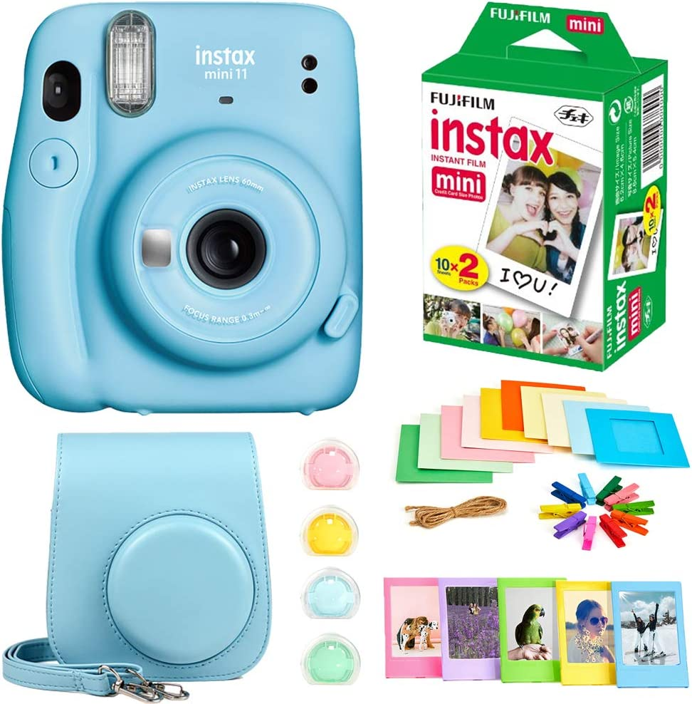 Fujifilm Instax Mini 11 Instant Camera + Instax Mini Twin Pack Film + Hanging Frames + Plastic Frames + Case + Close Up Filters - All Inclusive Bundle! (Sky Blue)