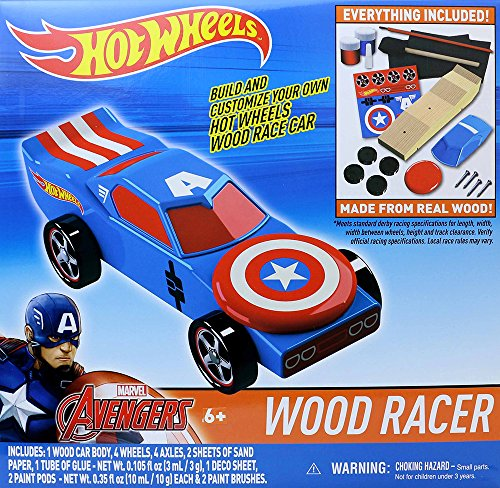 Marvel Hot Wheels Wood Racer-Captain America Playset ()
