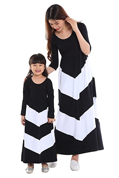 0fe731def1 Wennikids Cotton Material Mommy and Me Chevron Maxi Dress Long Sleeve Black  Women Small