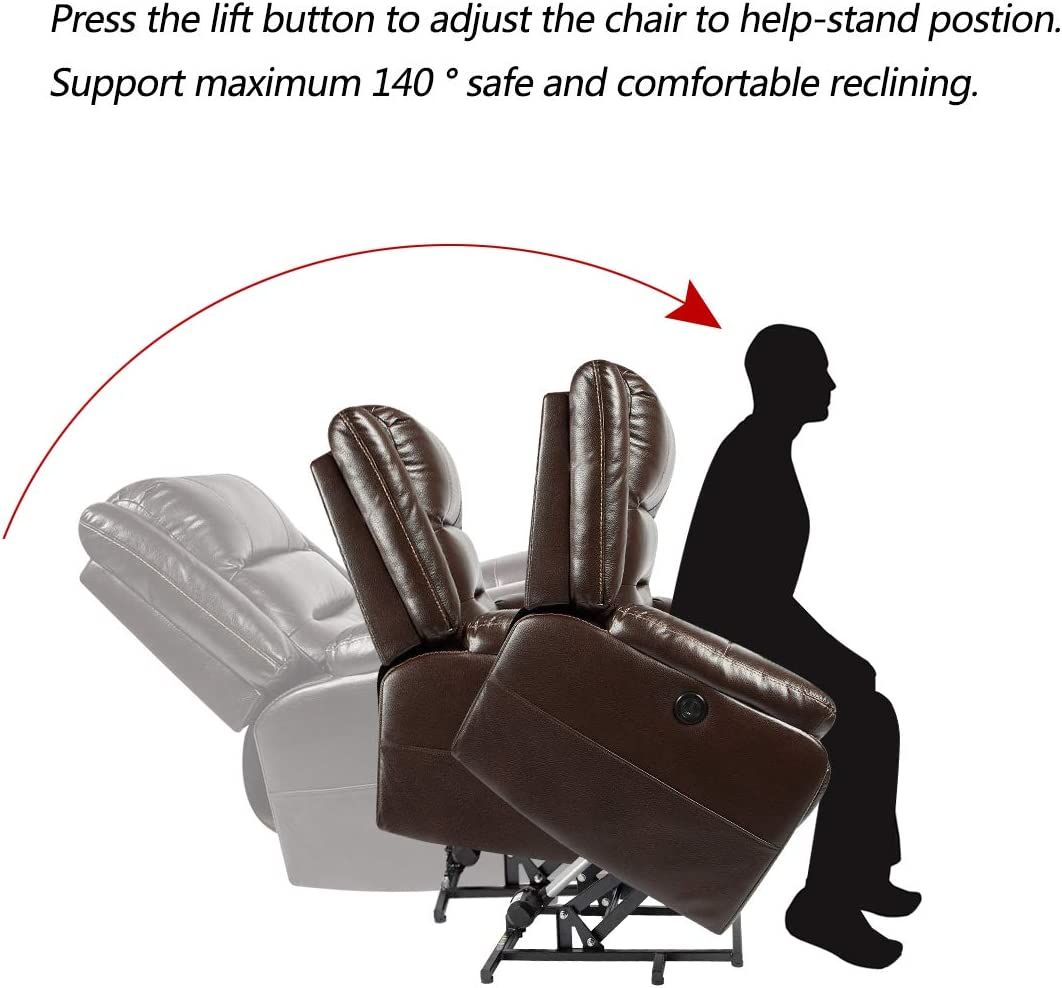 YODOLLA Electric Power Lift Chair Massage Heat Recliner Chair, Brown Faux Leather Recliner for Elder People with Side Pockets,USB Port Massgae Remote Control