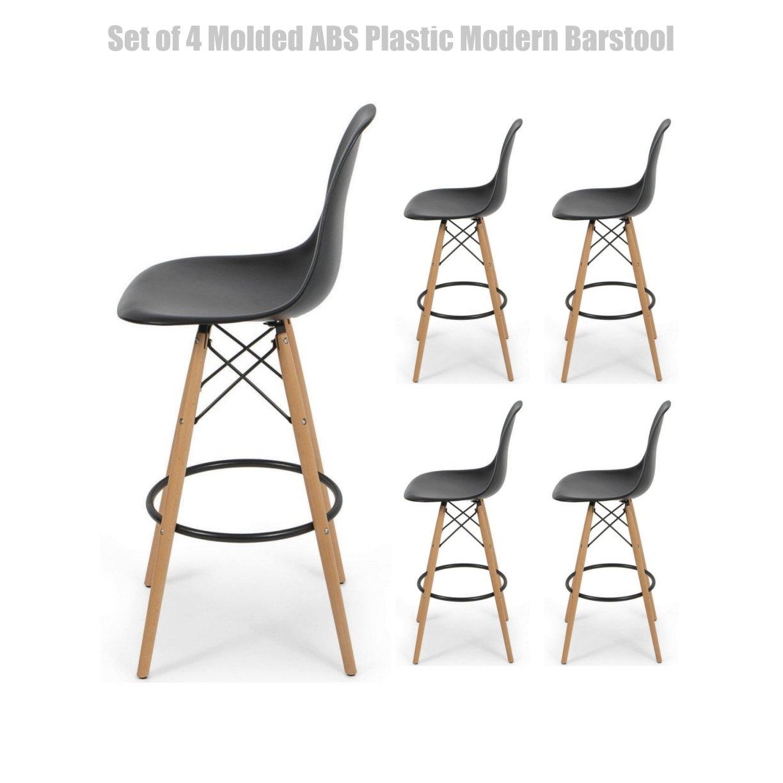 Modern Molded ABS Plastic Dining Chair Wooden Dowel Legs Posture Support Flexible Backrest Design Innovative Side Chair - Set of 4 Black #1456