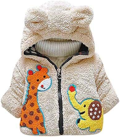 Pupik, Babies Zip Up Multicolor Animals Appliques Bear Eared Hood Fleece Jacket