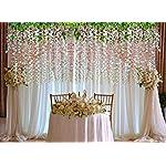 Artiflr-8pcs-Artificial-Fake-Wisteria-Vine-Garland-GreenDec-36FtPiece-Silk-Wisteria-Vine-Ratta-Hanging-Flower-for-Home-Garden-Wedding-DecorWhite