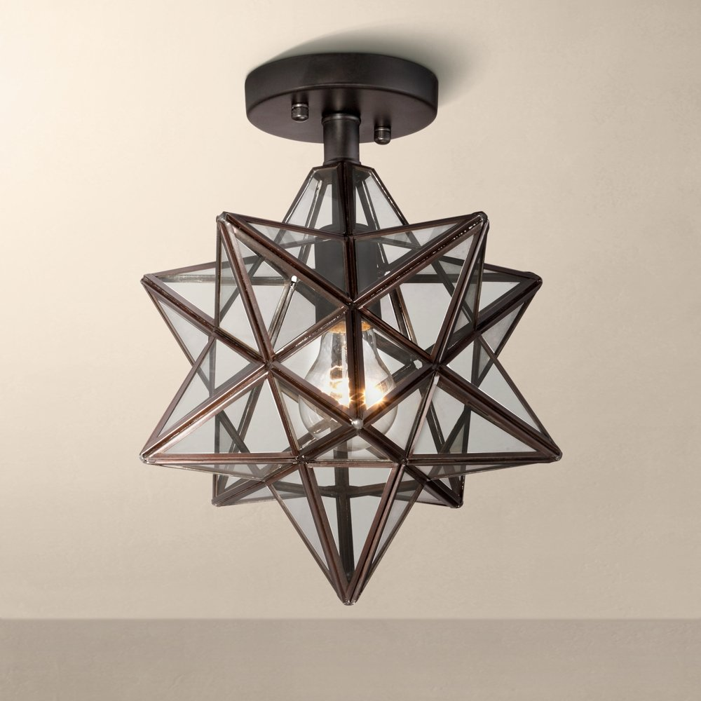 Cuthbert clear glass 11 wide black iron star ceiling light cuthbert clear glass 11 wide black iron star ceiling light amazon aloadofball
