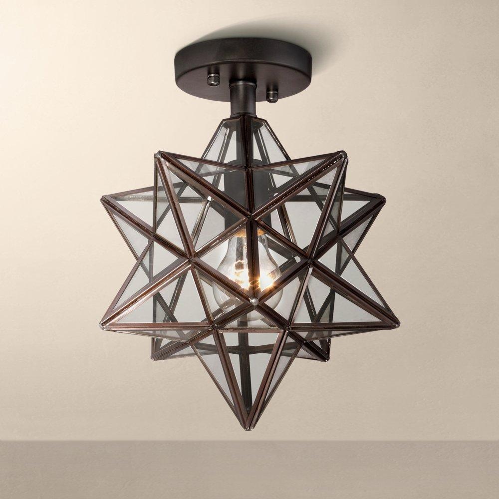 Cuthbert Clear Glass 11  Wide Black Iron Star Ceiling Light - - Amazon.com & Cuthbert Clear Glass 11