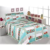 Fancy Collection 3 Pc Bedspread Bed Cover White Blue Aqua Red Floral (Full/queen)