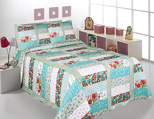 Fancy Collection 3 Pc Bedspread Bed Cover White Blue Aqua Red Floral King