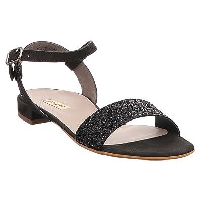 Paul Green 6076 032 Damen Elegante Sandale aus Nubukleder mit Glitzersteinen