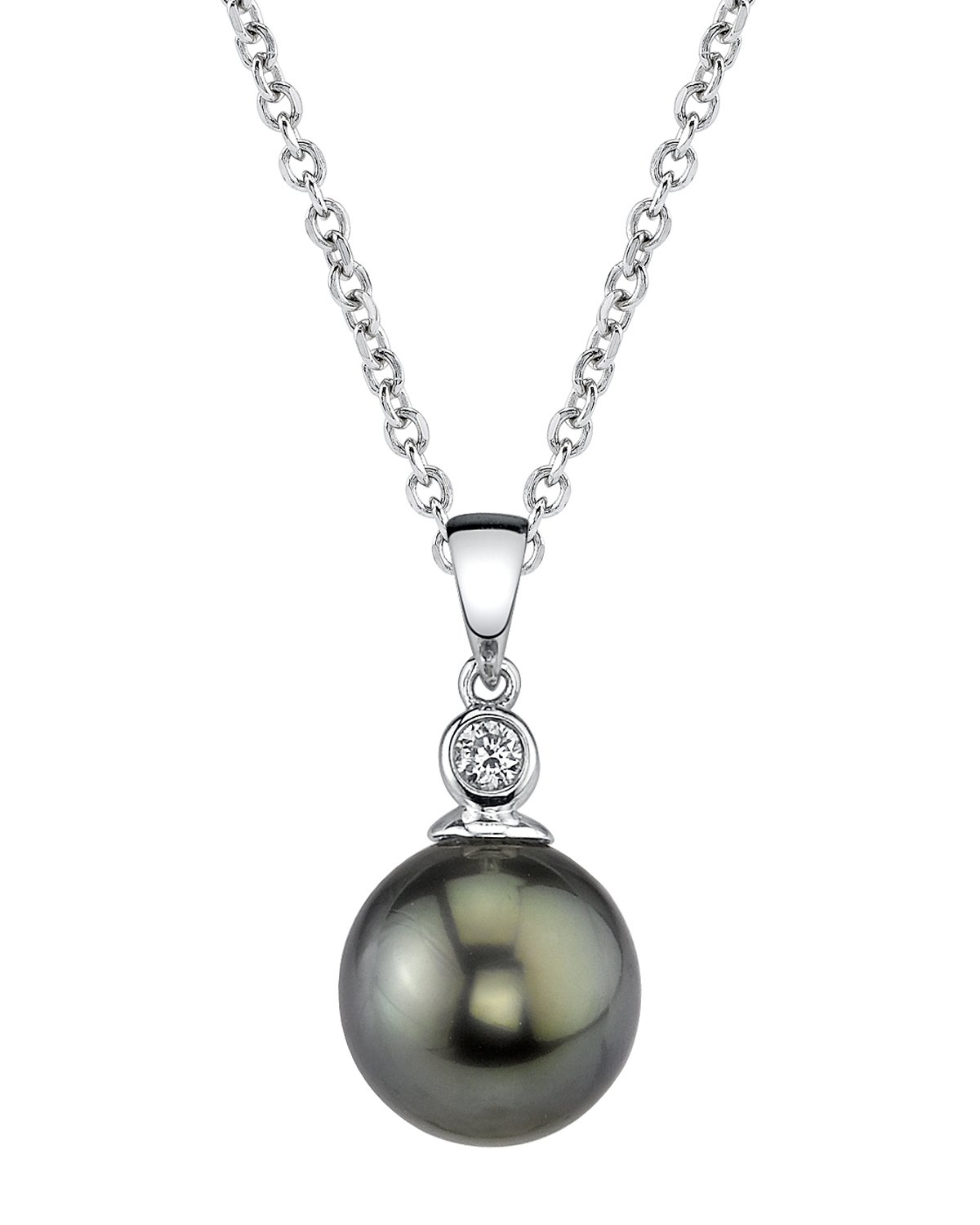 14K Gold Tahitian South Sea Cultured Pearl & Diamond Michelle Pendant Necklace