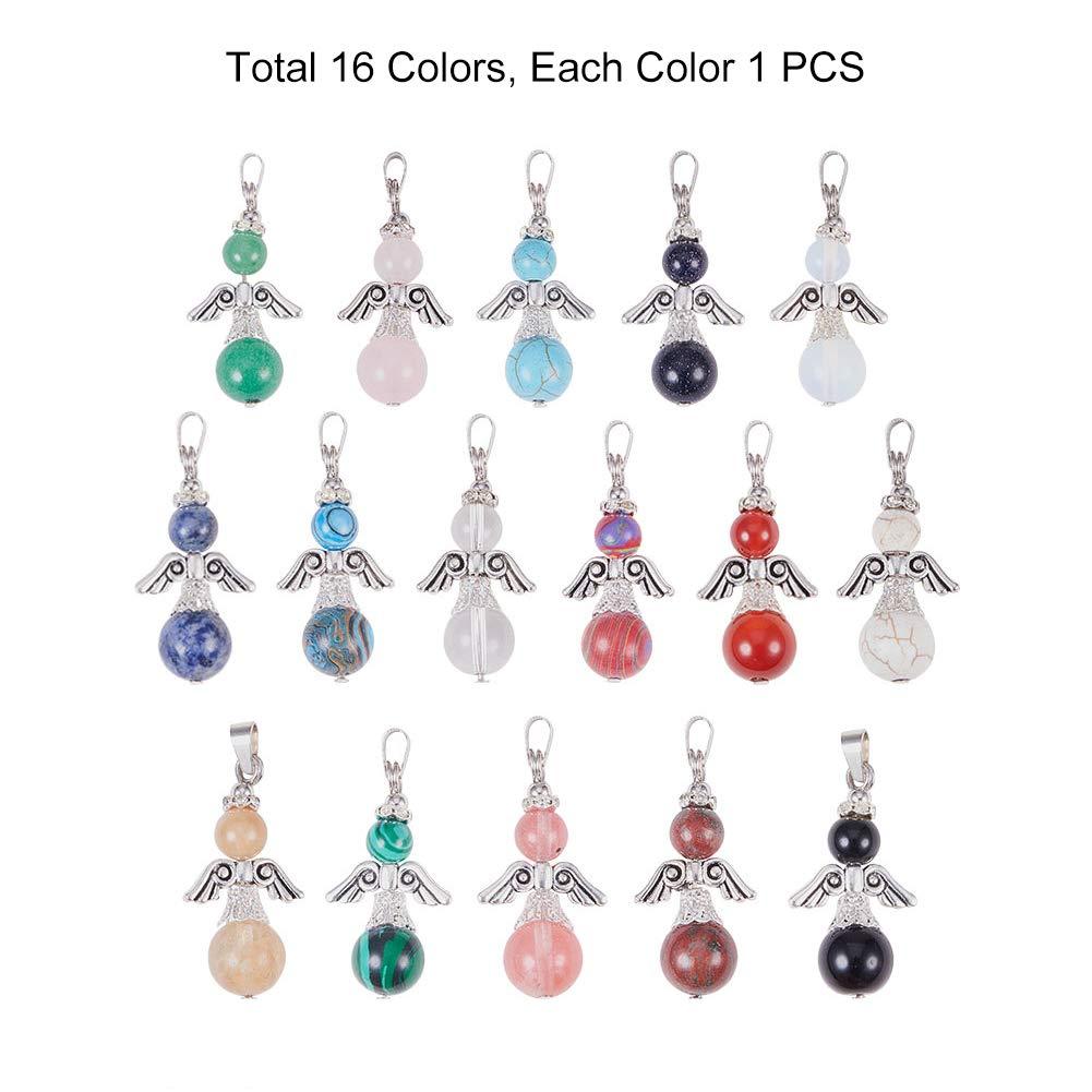 PH PandaHall 16pcs Assorted Color Angel Quartz Gemstone Healing Chakra Stone Charm Pendants Natural//Synthetic Charm Beads for Bracelet Necklace Jewelry Making