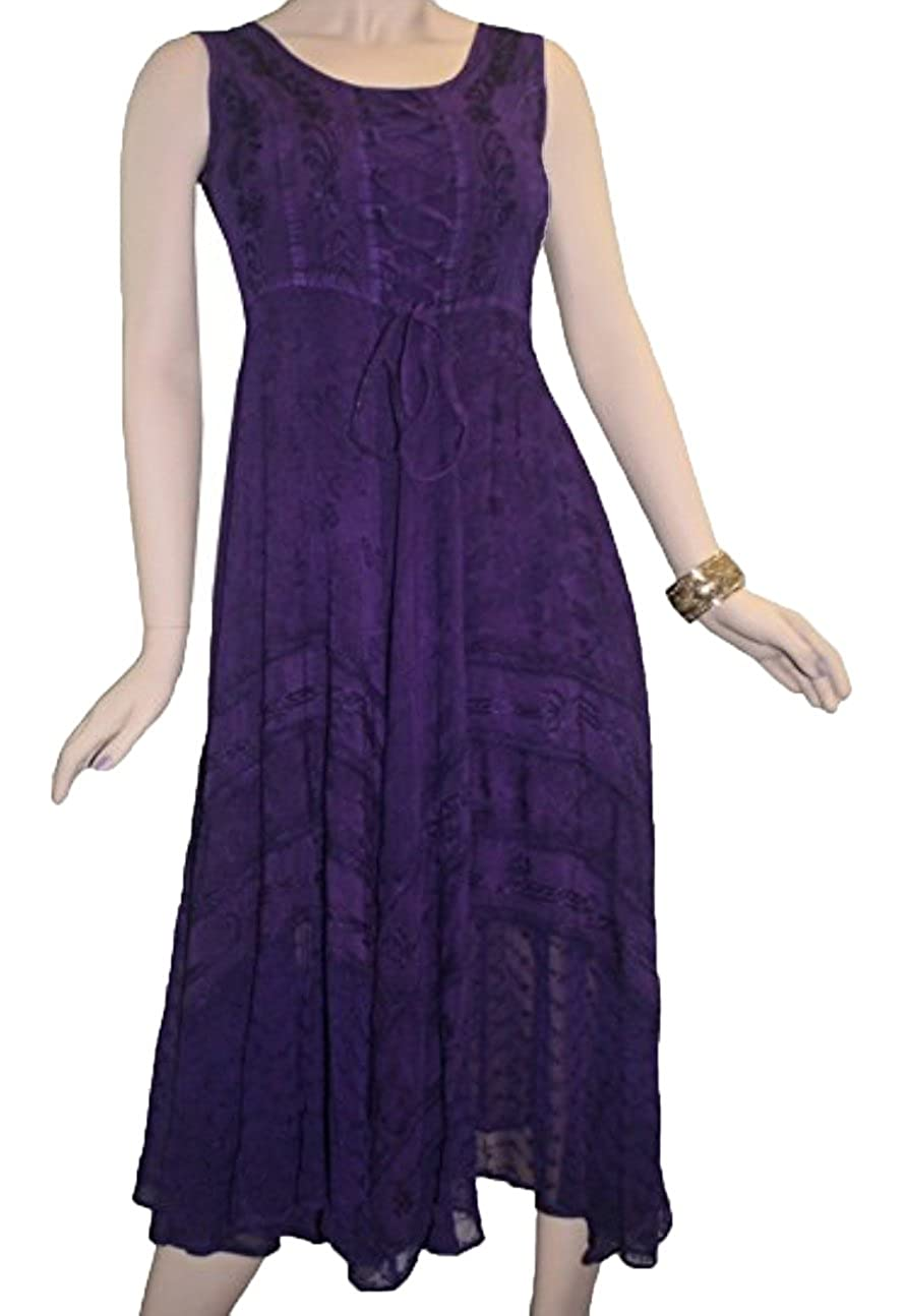 Purple Agan Traders 306 DR Gothic Corset Smocked Sleveless Embroidered Twirl Calf Dress