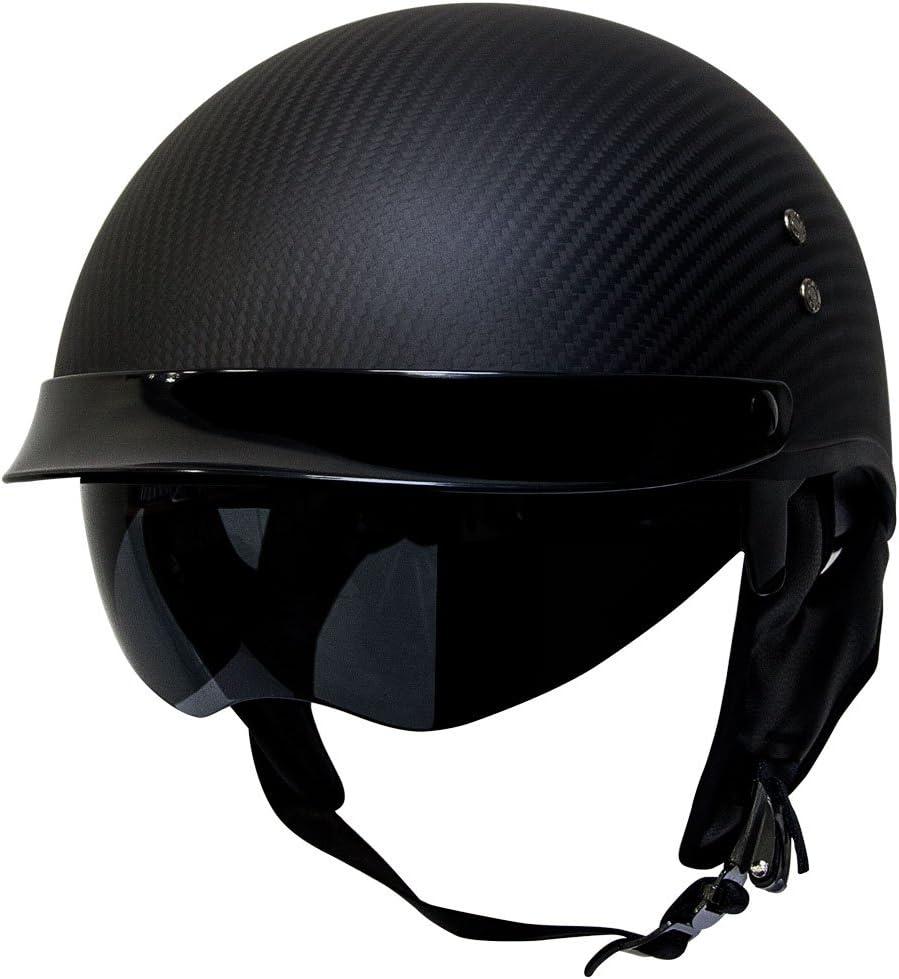 Voss 888CF Genuine Carbon Fiber Half Helmet