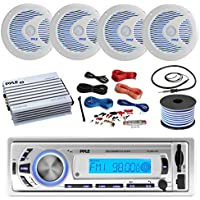 16-25 Bay Boat: Pyle Bluetooth Marine USB MP3 Stereo Receiver, 4 X Pyle 6.5 Waterproof White Speakers w/ LED, Pyle 4 Channel Boat Amplifier, Amp Install Kit, 18 Gauge 50 FT Speaker Wire, Antenna