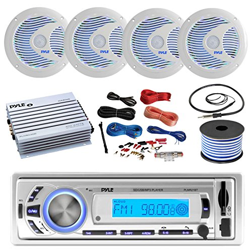 16-25' Bay Boat: Pyle Bluetooth Marine USB MP3 Stereo Receiver, 4 X Pyle 6.5'' Waterproof White Speakers w/ LED, Pyle 4 Channel Boat Amplifier, Amp Install Kit, 18 Gauge 50 FT Speaker Wire, - Head Led Unit