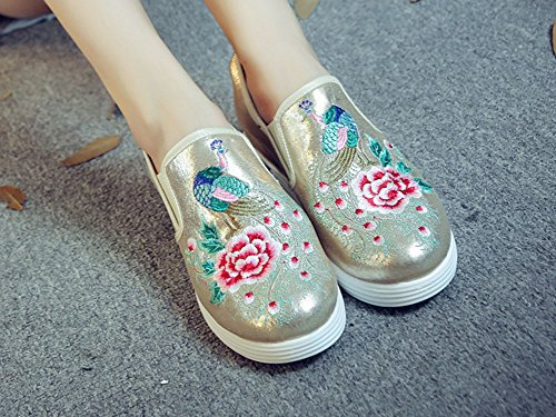 Embroidery Shoes Heel Sneaker Increase AvaCostume Fashion AvaCostume Beige Embroidery qYx0wIEw