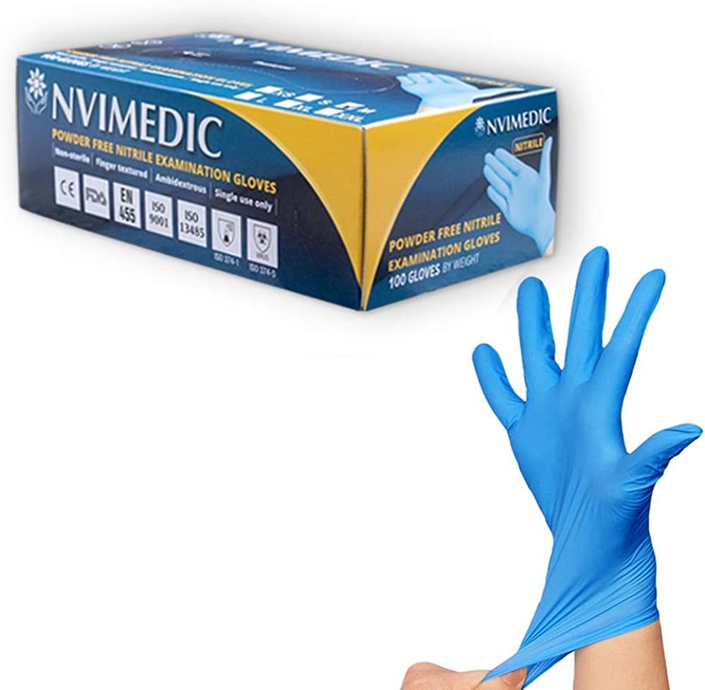 NVIMEDIC Nitrile Examination Gloves - 4 Mil Thick - Powder Free, Strong & Safe - Box of 100